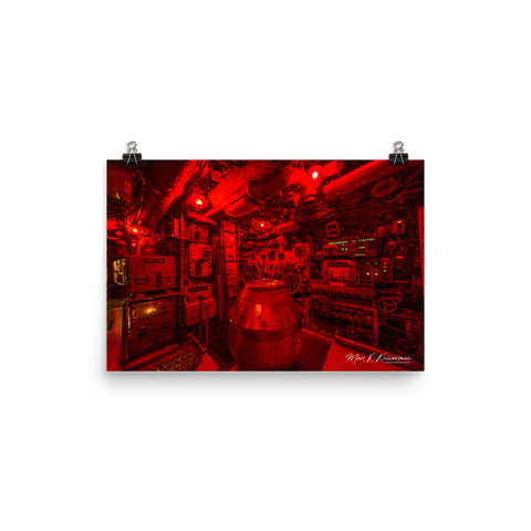 SUBMARINE BECUNA Control Room Red Poster