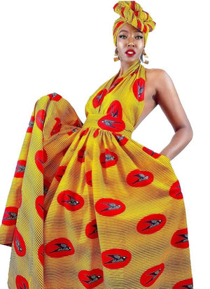 Yellow Versatile 'Aretta' African Print Dress