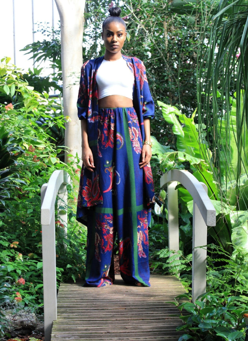 Bella blue Kimono trouser two piece