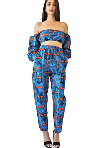 Eden blue African print trousers