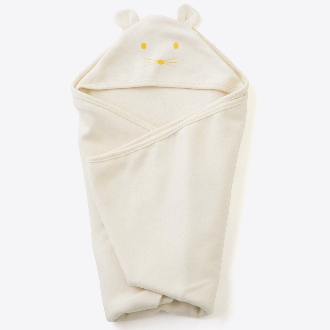 100% organic cotton. Swaddling just got cozier with the latest addition to our lineup of buttery soft organic cotton essentials for newborns. Generous in size for the best wrapping and tucking plus, the added super-cute eared hood for extra warmth and comfort.