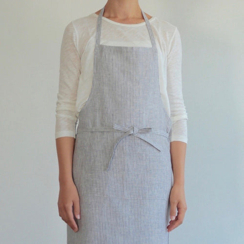 Linen Apron - Grey & White Stripes