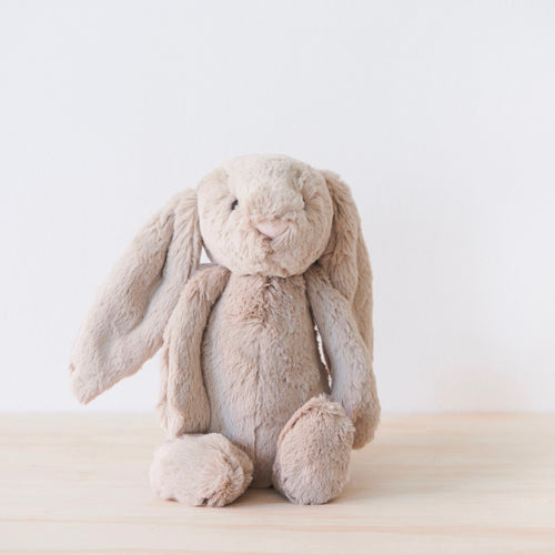 Cute, beige bashful bunny by Jelly Cat. (also available in Cream)