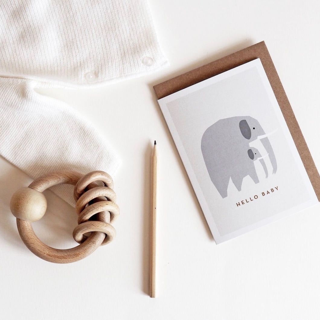 Hello Baby! Elephant greeting card, imagined and Illustrated by Michoucas Design in Bordeaux.