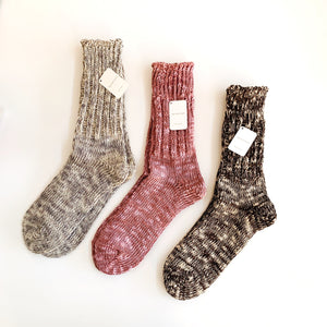 Pink Cotton & Linen Blend Socks