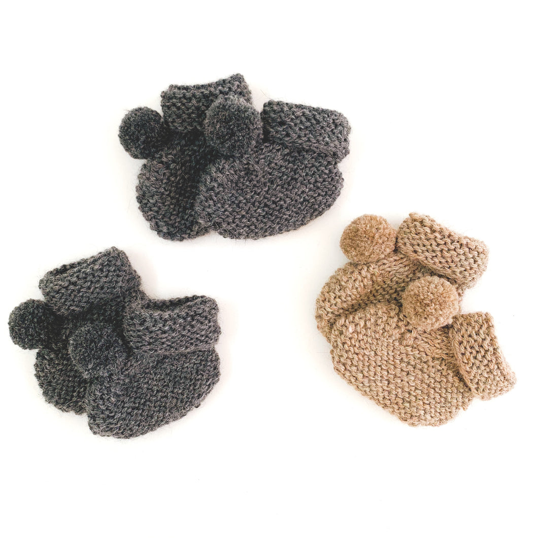 100% Alpaca Hand Knitted Baby Booties