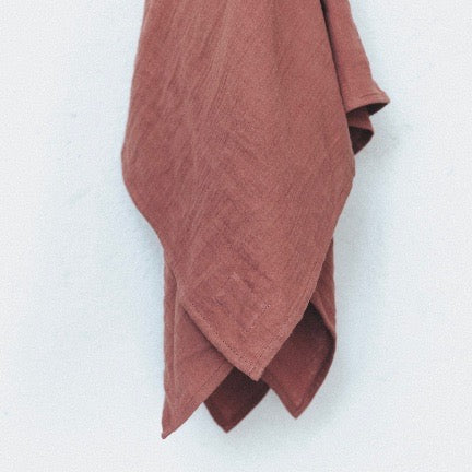 Beautiful, soft, light organic cotton muslin wraps in earthy colours by TANINAKA. Terra Rose
