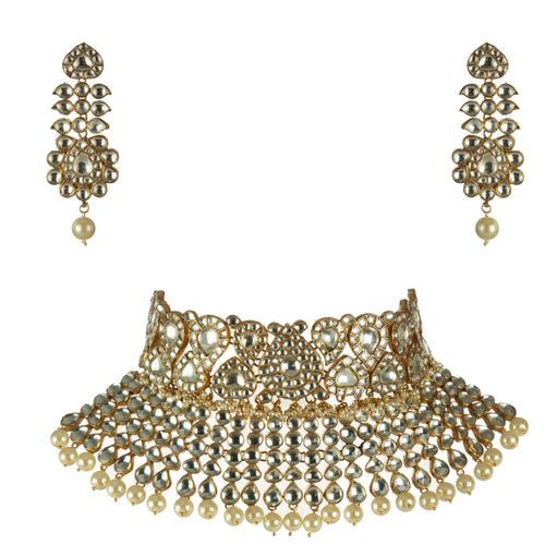 2 Layer White Bridal Set with Earrings Necklace Set Riana by Shikha Jindal