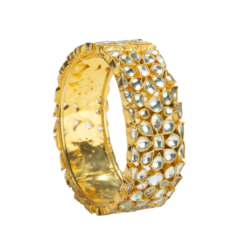 Bangle With Jadtar Stone In Floral Design Bangle Riana by Shikha Jindal
