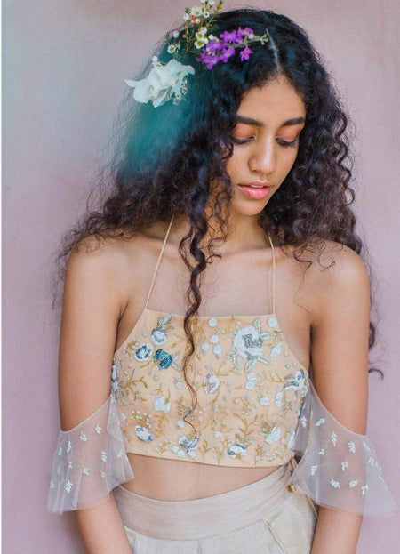 Vintage Lace Emerald Green Crop Top Set