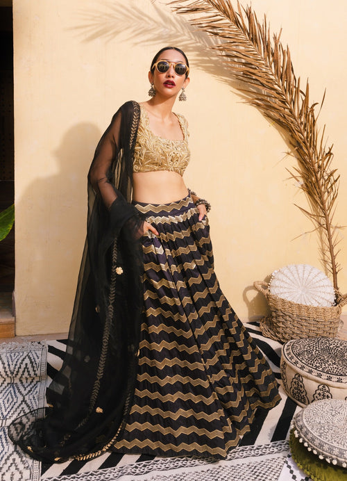 Benarasi Brocade Silk and Gold Lehenga Set Lehenga The Little Black Bow