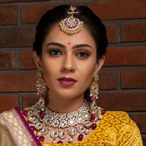 Big Round Stones Layered Necklace Set With Pink Beads Necklace Set Riana by Shikha Jindal