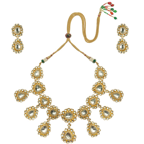 Big Stone Necklace Set With Moti Work Necklace Set Riana by Shikha Jindal