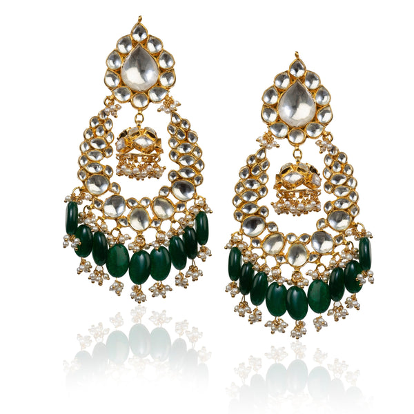 Big Stone White Earring In Green Hangings With Small Jhumki Earrings Riana by Shikha Jindal
