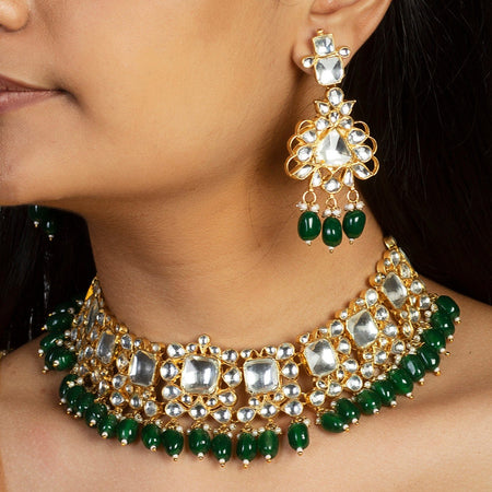 Kundan Choker Set With Green Beads and Green Studs