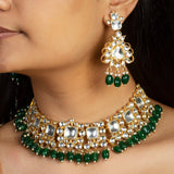 Big White Jadtar Stone Set With Green Beads Necklace Set Riana by Shikha Jindal