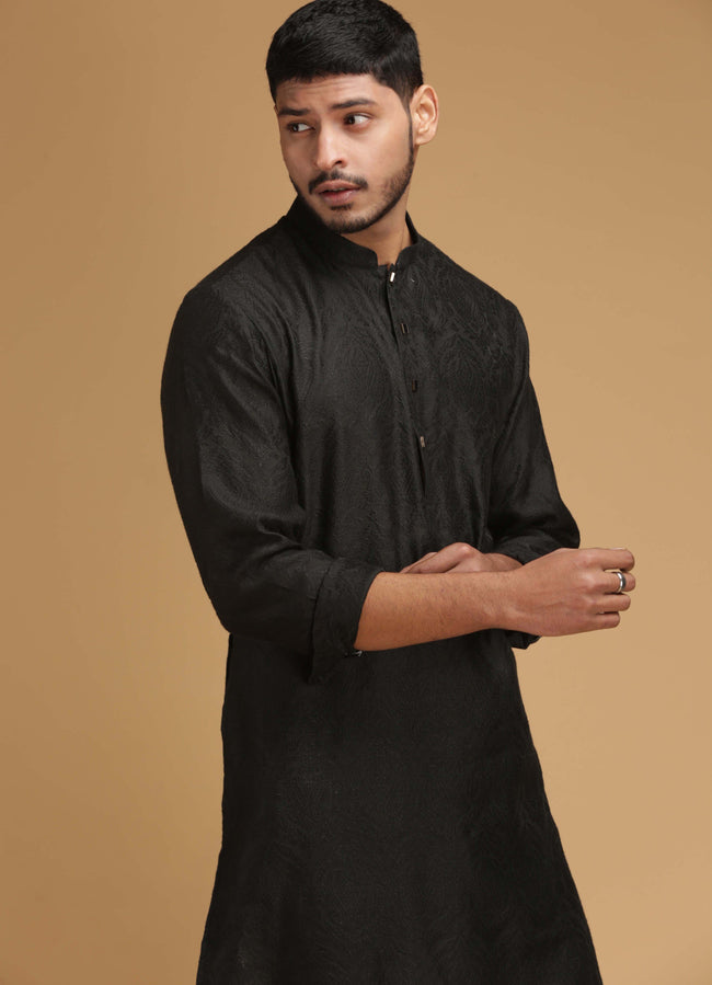 Black Classic Silk Kurta Set Men Chatenya Mittal