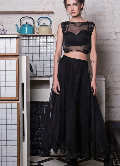 Black Organza Lace Applique Crop Top Set Lehenga The Little Black Bow
