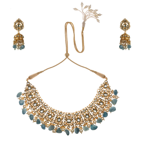 Blue And White Choker Set Necklace Set Riana by Shikha Jindal