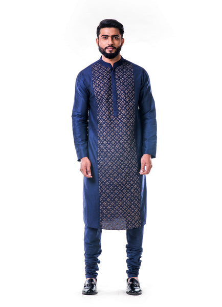 Blue Gold Embroidery Silk Kurta Set Men Anju Agarwal