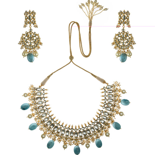 Blue Oval Shape Necklace Set Necklace Set Riana by Shikha Jindal