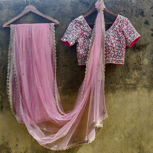 Blush Pink Net Saree with Red Mirror Work Blouse Saree Priti Sahni