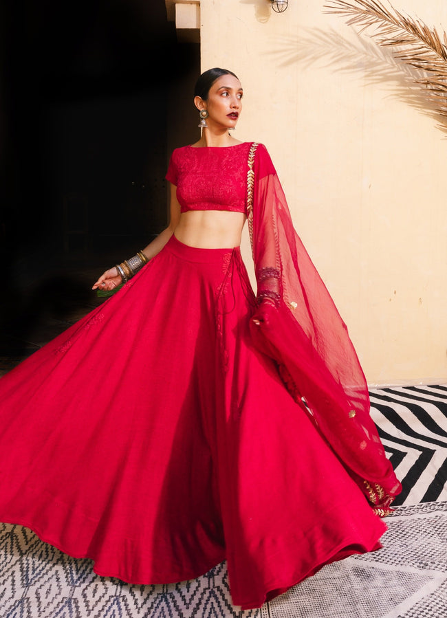 Bohemian Bridal Red & Gold Lehenga Set Lehenga The Little Black Bow