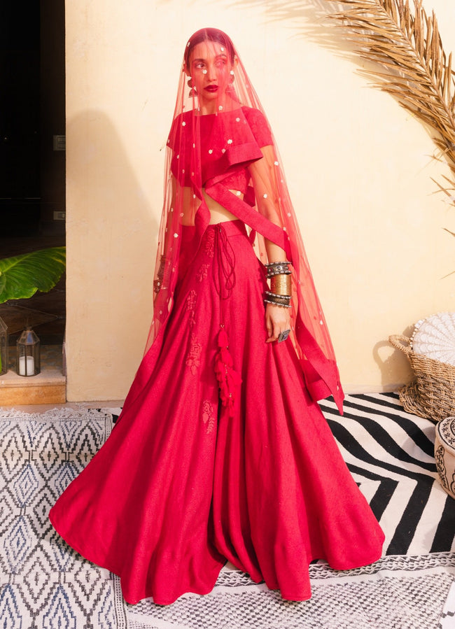 Bohemian Bridal Red & Pearl Lehenga Set Lehenga The Little Black Bow