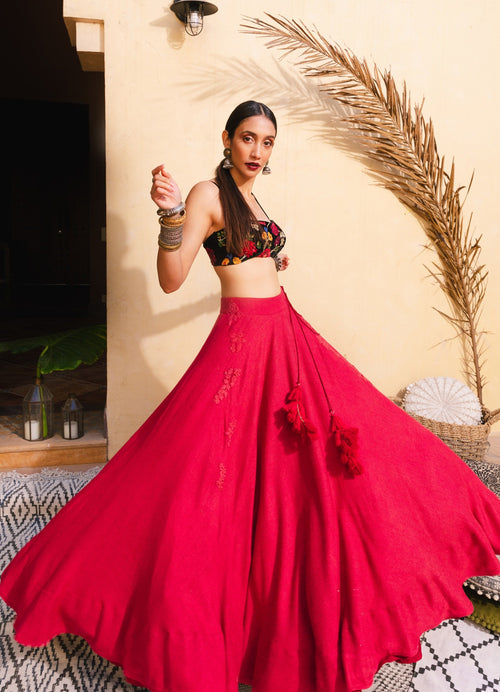 Bohemian Tapestry Red Lehenga Set Lehenga The Little Black Bow