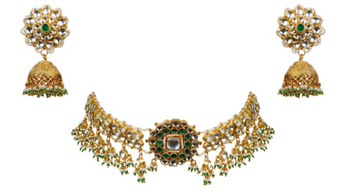 Bracelet Choker With Green Stone And Jhumki Necklace Set Riana by Shikha Jindal