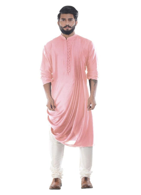 Chevron Peach Silk Kurta Set