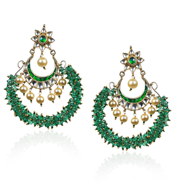 Chand Baali Earrings With Light Green Beads Earrings Riana by Shikha Jindal