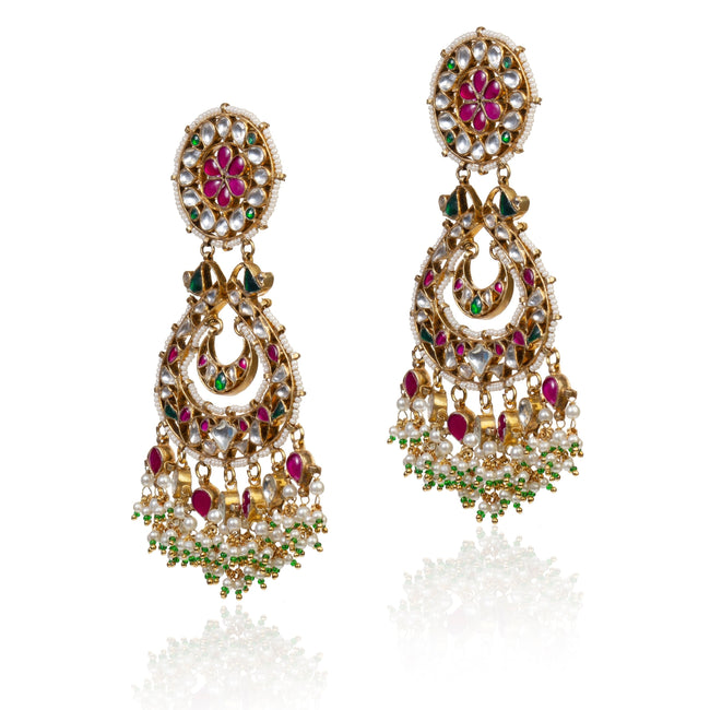 Chand Baali With Red And Green Jadtar Stone Earrings Riana by Shikha Jindal