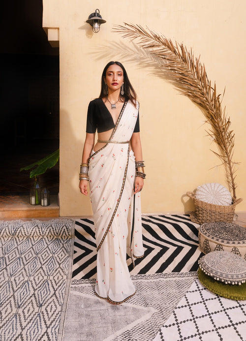 Cherry Sari and Vintage Crop Top Saree The Little Black Bow