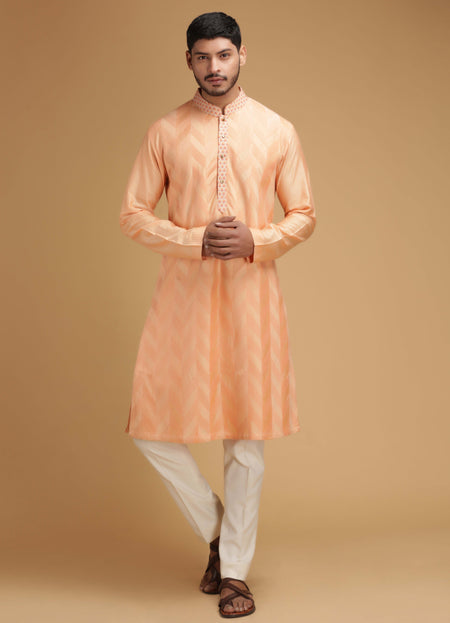 Cream Mirror Work Silk Kurta Set