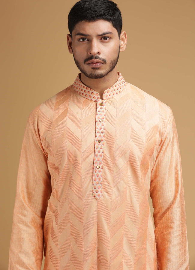 Chevron Peach Silk Kurta Set Men Chatenya Mittal