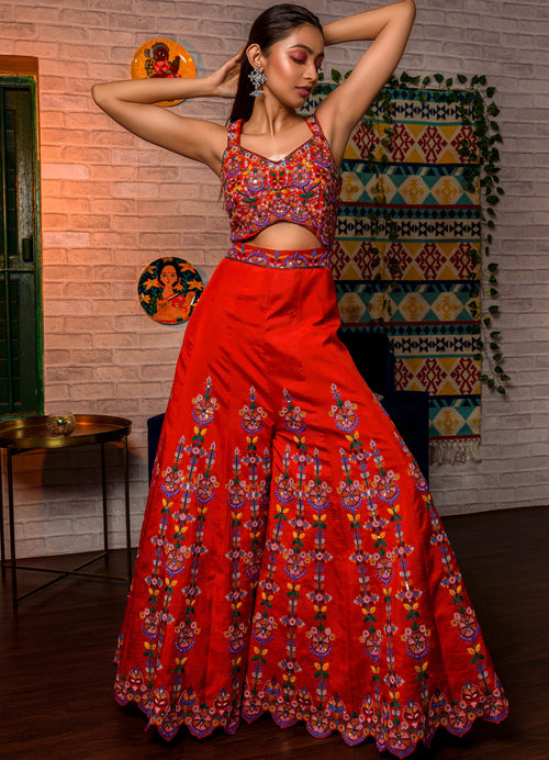 Chilli Red Embroidered Jumpsuit Fusion Juhi Bengani