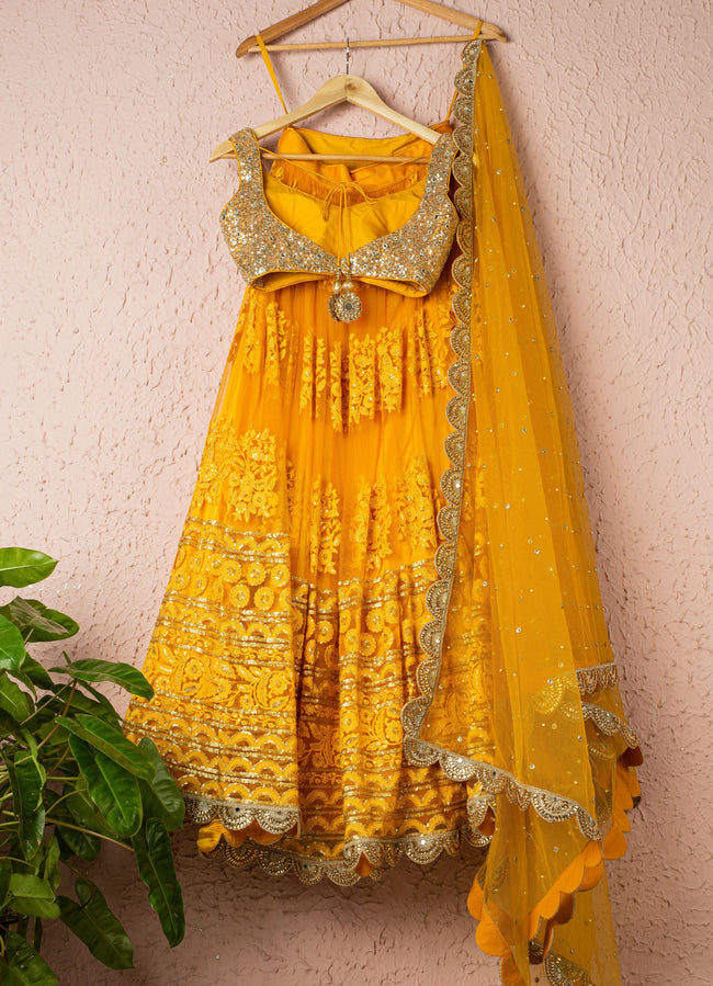Classic Yellow Embroidered Threadwork Lehenga With Abla & Sequence Blouse Lehenga Anisha Shetty