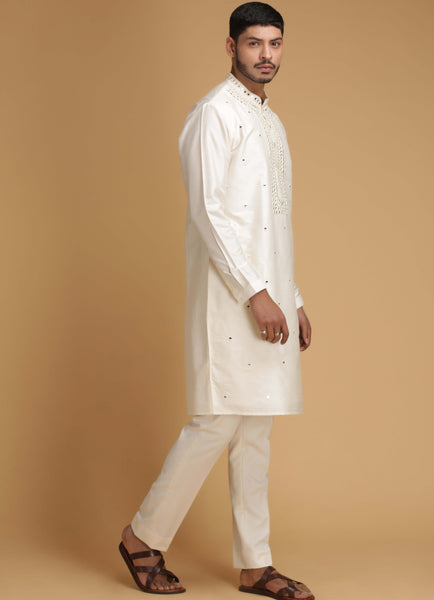 Cream Mirror Work Silk Kurta Set Men Chatenya Mittal