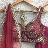 Crimon Red Satin Katori Style Blouse Blouse Shrena Hirawat