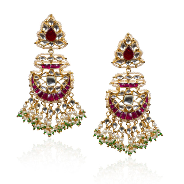Curved Shaped Pink And White Earrings Earrings Riana by Shikha Jindal