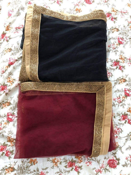 Cut Work Gold Border Dupatta Dupatta Shrena Hirawat