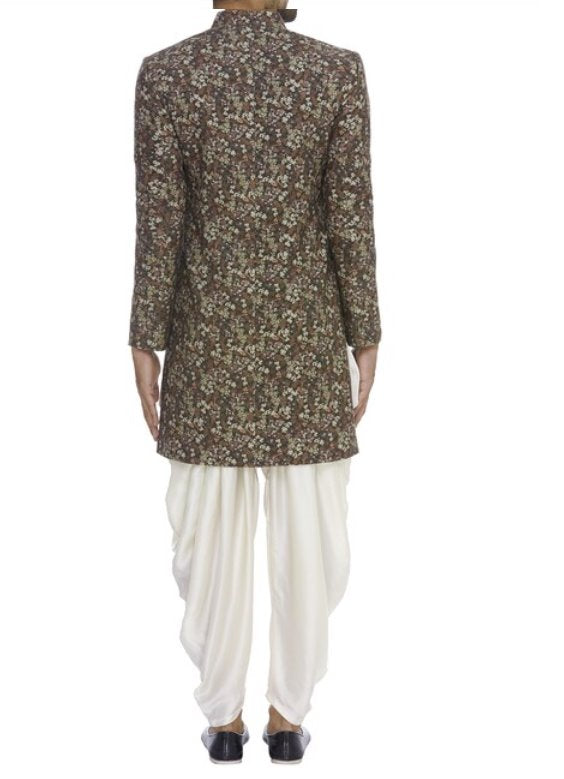 Dark Brown Floral Kurta Set Men Chatenya Mittal