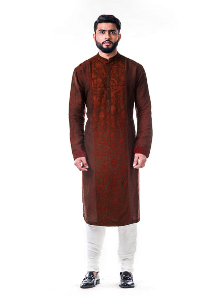 Dark Maroon Ari Embroidery Silk Kurta Set Men Anju Agarwal