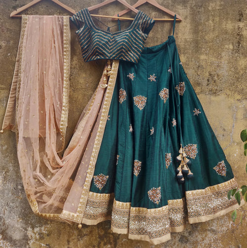 Deep Forest Green Embroidered Lehenga Set Lehenga Priti Sahni