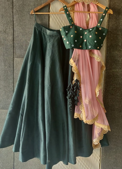 Deep Forest Green Mirror Work Lehenga Set Lehenga Priti Sahni