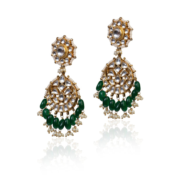 Drop Shaped Earrings With Green Hangings Earrings Riana by Shikha Jindal