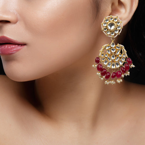 Dropas Shaped Earrings With Maroon Hangings Earrings Riana by Shikha Jindal