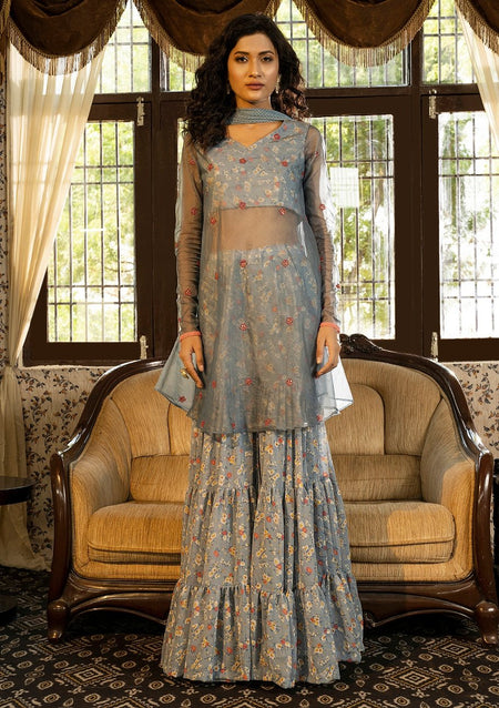 Dusty Blue Printed Lehenga Set