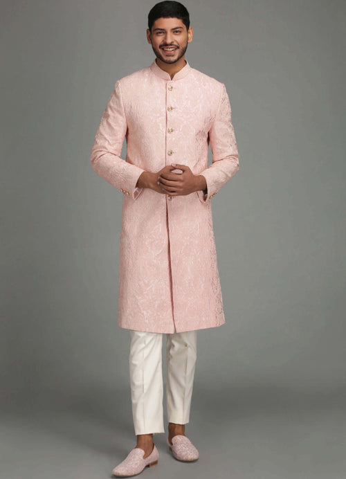 Dusty Pink Paisley Embroidery Sherwani Set Men Chatenya Mittal